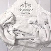 Именная крыжма с капюшоном и кружевом, вышивка - крест, дата рождения, имя девочки (100x100 см, 100% хлопок)