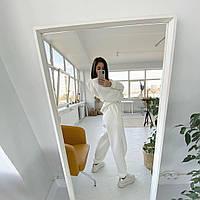 Супер модний базовий костюм з об'ємним худі, S/M/L/XL, колір білий, фото 1