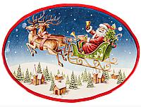 """Блюдо новогоднее, керамическое, овальное """"Дед Мороз"""", 33 см"""