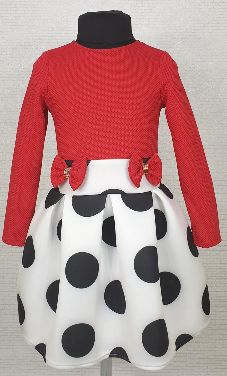 Детское платье красное с белым в горох на рост 104 110 116 см Украина