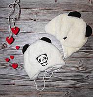 Теплая детская шапочка для новорожденного Панда осень зима