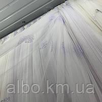 Елегантний білий тюль з фатину з вишивкою і стразами на метраж, висота 3 м (25087T), фото 3