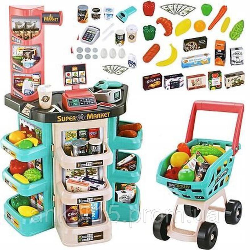 Игровой набор супермаркет с тележкой 668-76, магазин на 47 предметов