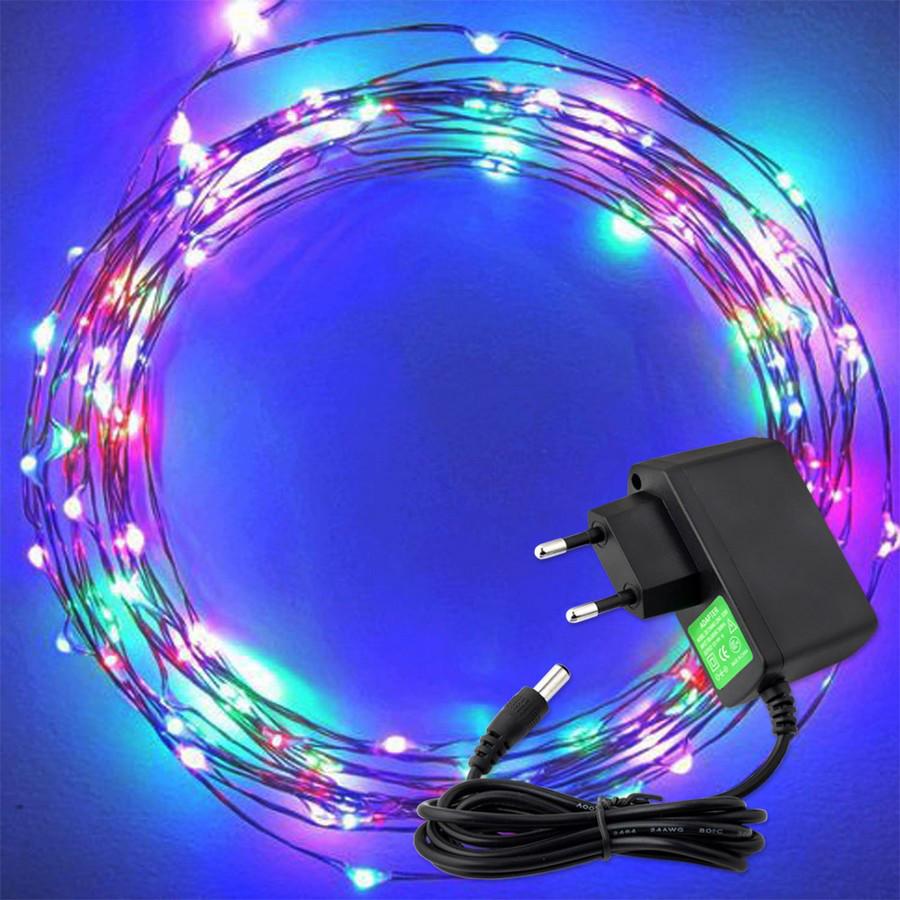 Светодиодная гирлянда нить 10м 100led 220в разноцветная RGB