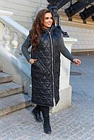 Женская стеганная в ромбик длинная жилетка безрукавка на змейке с капюшоном, батал большие размеры