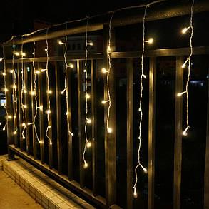 Гирлянда бахрома 3 м, прозрачный шнур,100 LED, золото, с переходником, фото 2
