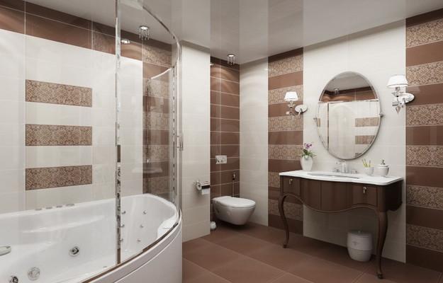 Глянцевый натяжной потолок в ванной, фото 1