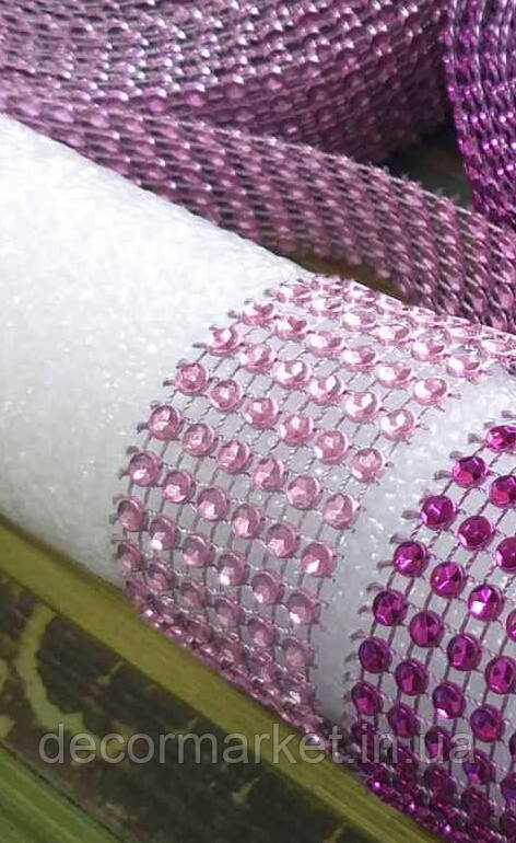Лента стразовая 3 см, розовая