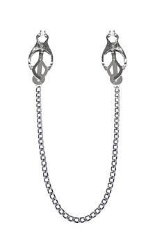 Зажимы для сосков с цепочкой Feral Feelings - Clover nipple clamps, серебро/белый Bomba💣