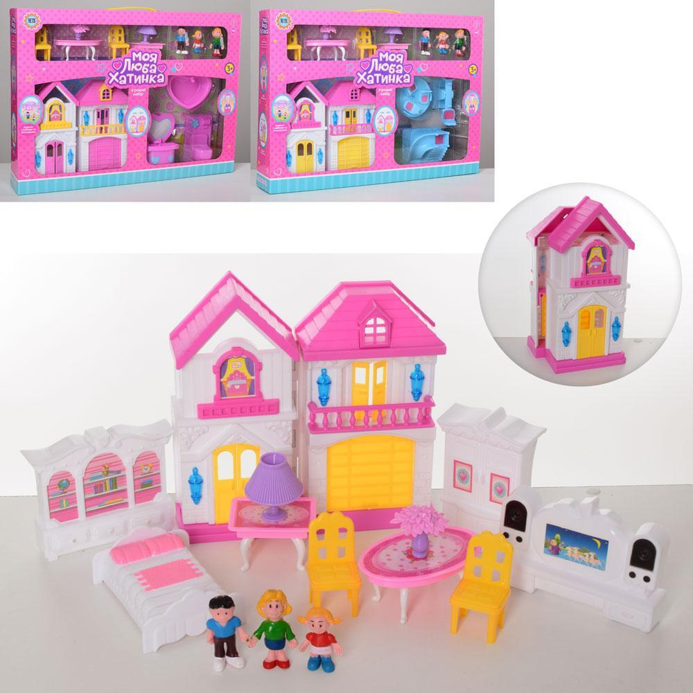 Игровой домик WD-925-D-E 19-19-6см, мебель,фигурки 3шт,от5см, звук, свет