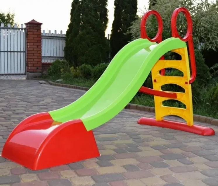 Горка пластиковая детская Mochtoys 180 см зеленая