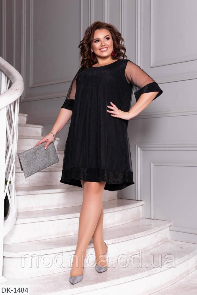 Чорне плаття по коліно з рукавом з сіточка батал, розмір 50-52, 54-56, 58-60