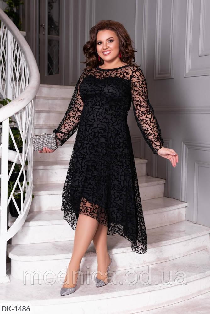Черное кружевное платье с длинным рукавом батал, размеры 50-52, 54-56, 58-60
