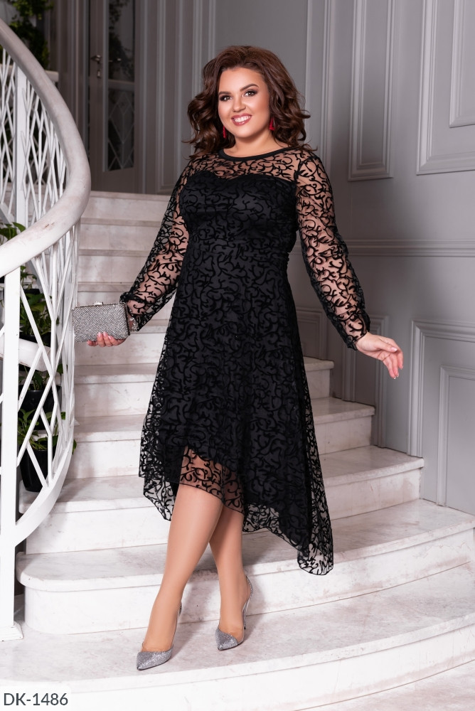 Чорне мереживне плаття з довгим рукавом батал, розмір 50-52, 54-56, 58-60