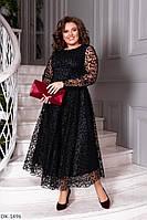 Черное кружевное платье с сеткой с бархатным напылением батал, размеры 50-52, 56-58, 52-56