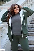 Стильный женский теплый спортивный костюм батал, размеры 48-50, 52-54