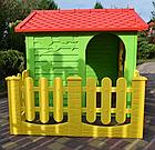 Детский садовый домик Mochtoys 190×127×118 см зеленый с забором, фото 4