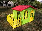 Детский садовый домик Mochtoys 190×127×118 см зеленый с забором, фото 6