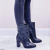 Жіночі ДЕМІ чорні черевики на підборах 9 см натуральна шкіра, фото 3