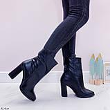 Жіночі ДЕМІ чорні черевики на підборах 9 см натуральна шкіра, фото 5