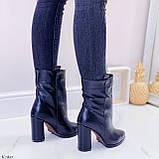 Женские ДЕМИ ботинки черные на каблуке 9 см натуральная кожа, фото 6