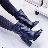 Женские ДЕМИ ботинки черные на каблуке 9 см натуральная кожа, фото 2