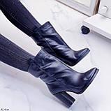 Жіночі ДЕМІ чорні черевики на підборах 9 см натуральна шкіра, фото 2