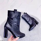 Жіночі ДЕМІ чорні черевики на підборах 9 см натуральна шкіра, фото 7