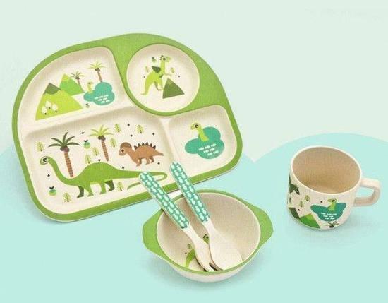 "Посуда детская бамбук ""Динозавры"" 5пр/наб (2тарелки, вилка, ложка, чашка) MH-2773-4, фото 2"