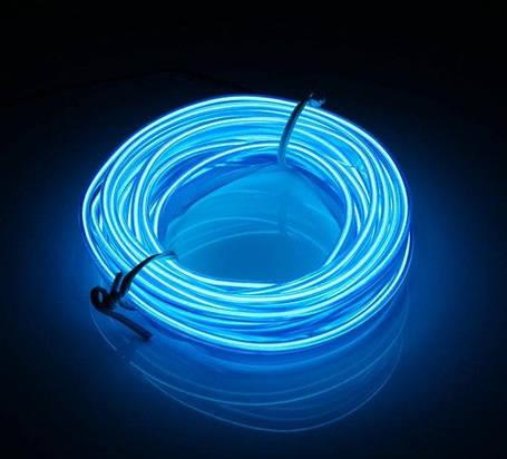 Гибкий светодиодный неон Синий Neon Glow Light Blue - 3 метра ленты на батарейках 2 AA, фото 2