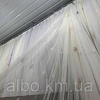 Элегантный молочный тюль из фатина с вышивкой молочного цвета на метраж, высота 3 м, фото 2