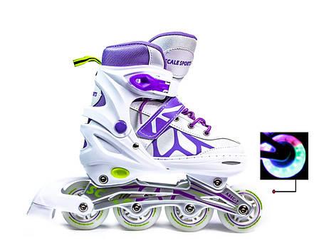 Ролики Scale Sports LF 601A бело-фиолетовые, размер 34-37, фото 2
