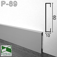 Дизайнерський алюмінієвий плінтус для підлоги, 60х10х2500мм. Анодований.