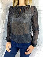 Блуза женская черная в мелкий горох 42