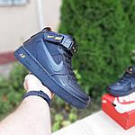 Женские зимние кроссовки Nike Air Force 1 Mid LV8 (черно-оранжевые) 3549, фото 3