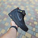 Женские зимние кроссовки Nike Air Force 1 Mid LV8 (черно-оранжевые) 3549, фото 4