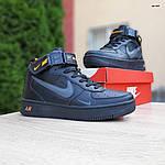 Женские зимние кроссовки Nike Air Force 1 Mid LV8 (черно-оранжевые) 3549, фото 6