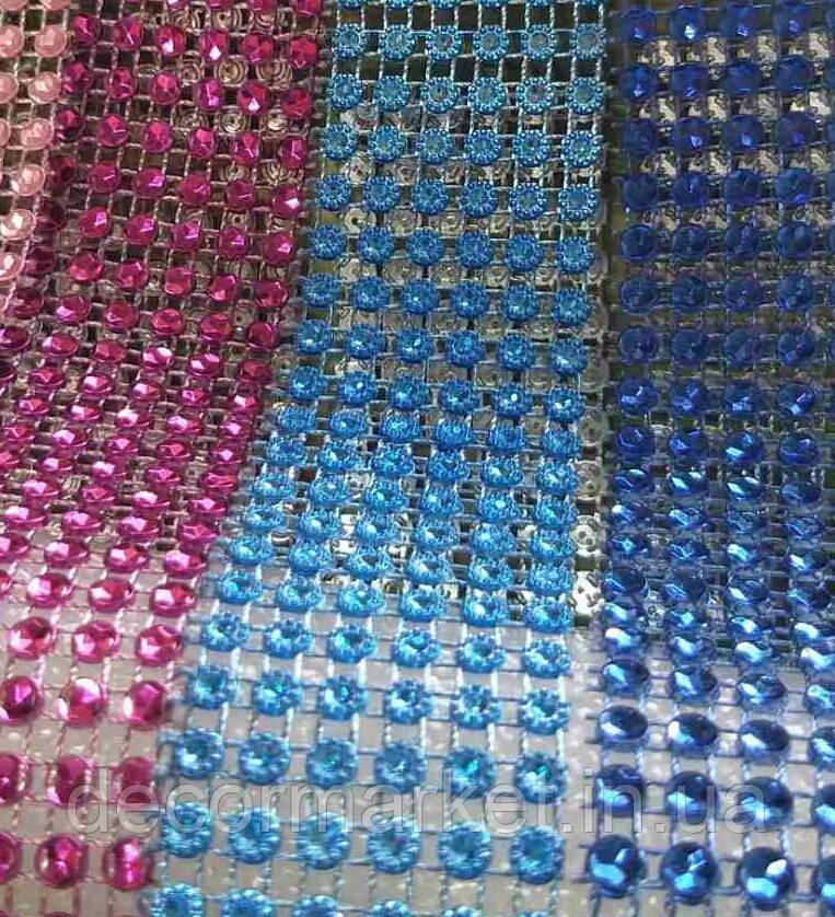 Лента стразовая 3 см, цвет голубой
