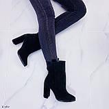 Женские ботильоны ДЕМИ / осенние на каблуке 9 см черные натуральная замш, фото 2
