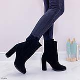 Женские ботильоны ДЕМИ / осенние на каблуке 9 см черные натуральная замш, фото 4