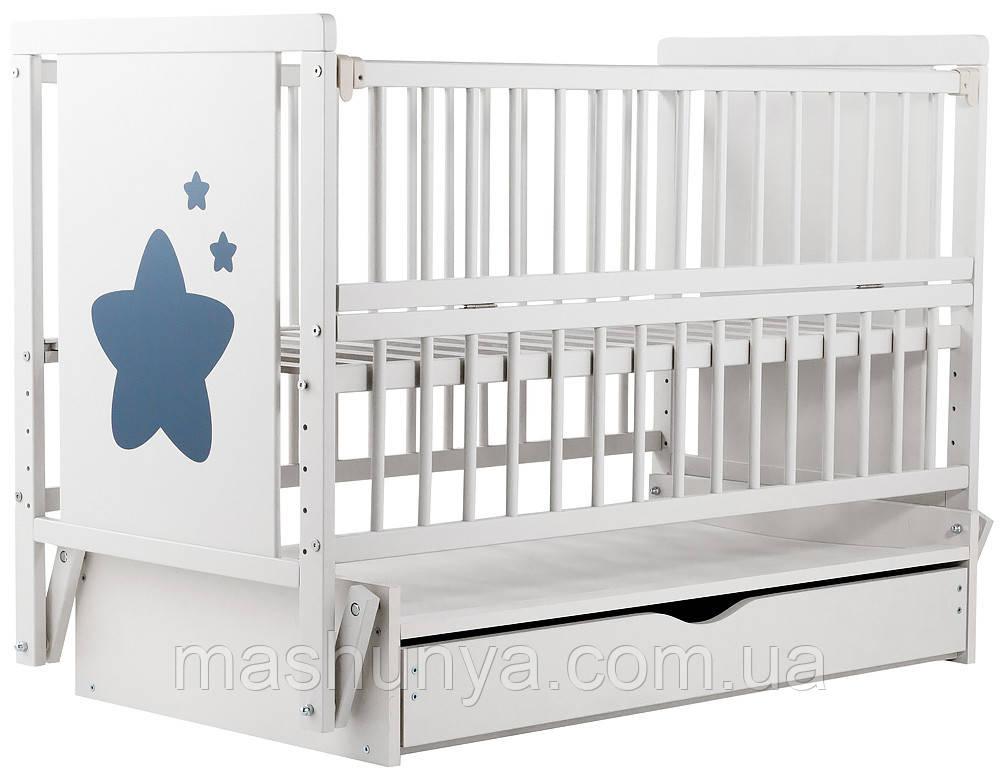 Детская кроватка Дубок Звездочка на маятнике с ящиком и откидной боковиной Пром