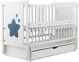 Детская кроватка Дубок Звездочка на маятнике с ящиком и откидной боковиной Пром, фото 4