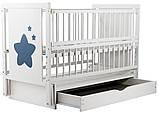 Детская кроватка Дубок Звездочка на маятнике с ящиком и откидной боковиной Пром, фото 6