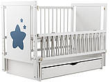 Детская кроватка Дубок Звездочка на маятнике с ящиком и откидной боковиной Пром, фото 8
