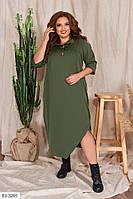 Платье в стиле бохо, с карманами и декорировано пуговицами батал, размеры 48-50, 52-54