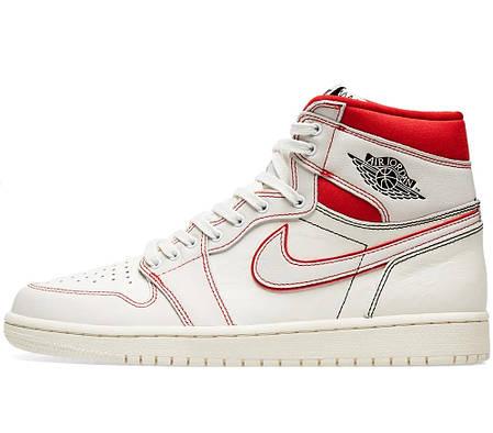 """Кросівки Nike Air Jordan 1 """"Білі Червоні"""", фото 2"""