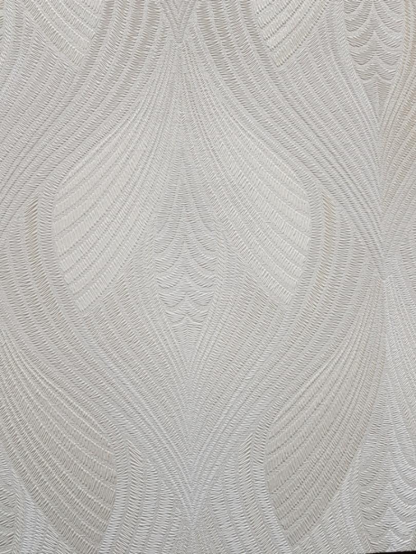 Обои виниловые на флизелине Grandeco Virtuoso метровые геометрия  веер жемчужные с серебром