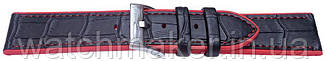 Черный ремешок для часов черный кожа + красный  силикон 20мм 22мм