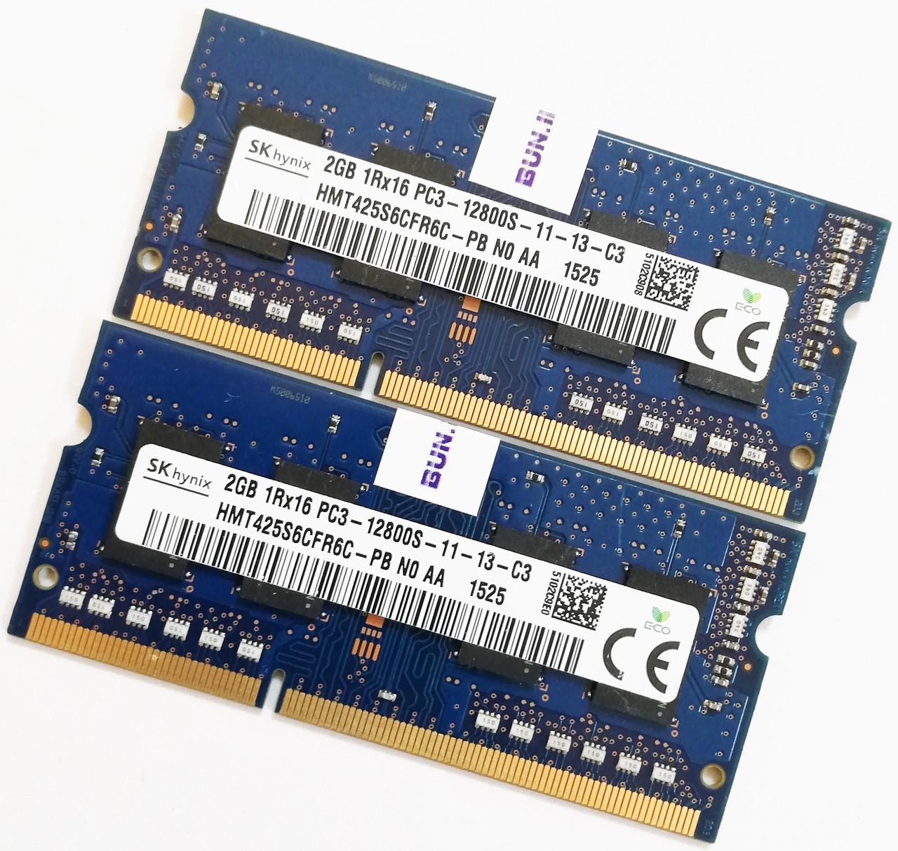 Пара оперативной памяти для ноутбука Hynix DDR3 4Gb (2*2Gb) 1600MHz 12800s CL11 (HMT425S6CFR6C-PB N0 AA) Б/У