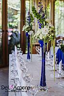 Свадебные высокие вазы с живыми цветами